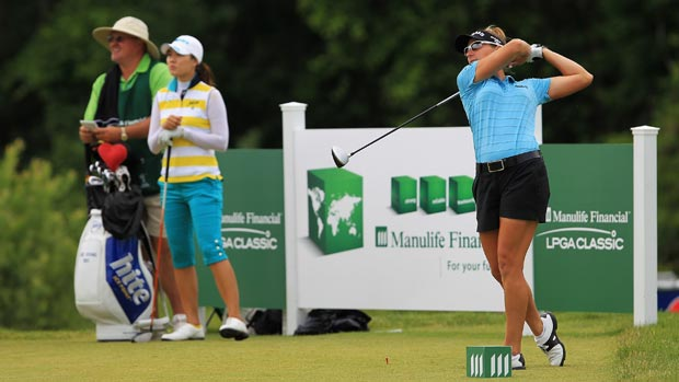Brittany Lang and Hee Kyung Seo during the final round of the 2012 Manulife Financial LPGA Classic