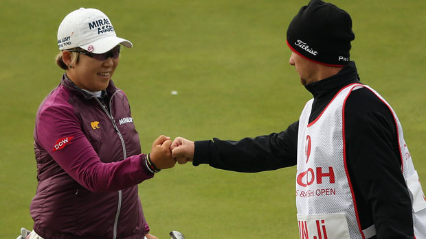 Jiyai Shin with her caddie Florian Rodriguez on the final day at the RICOH Women's British Open