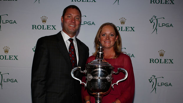 Stacy Lewis poses with Commissioner Mike Whan