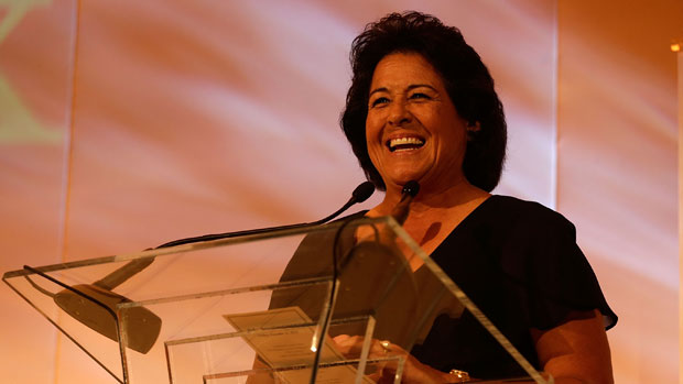 Nancy Lopez gives her acceptance speech for the Patty Berg Award