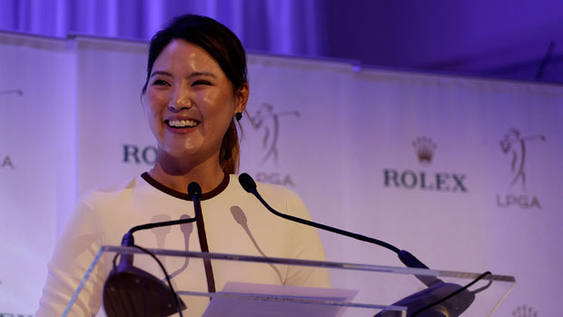 So Yeon Ryu gives her acceptance speech for the Louise Suggs Rolex Rookie of the Year Award