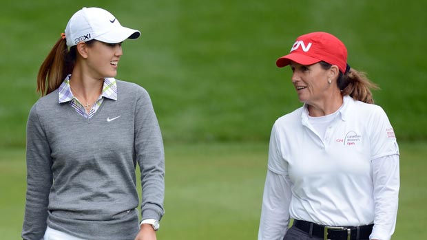 Lorie Kane and Michelle Wie during the first round of the 2012 CN Canadian Women's Open