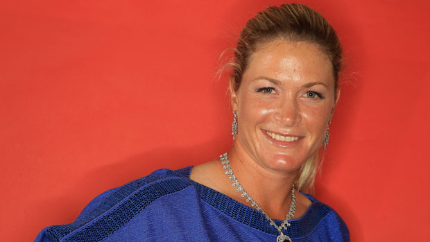 Suzann Pettersen poses with Tiffany jewelry