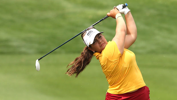 Lizette Salas during the final round of the 2013 Kraft Nabisco Championship