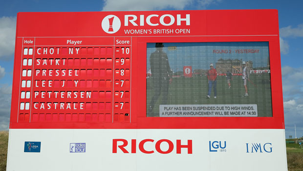 Tournament scoreboard during the third round of the RICOH Women's British Open