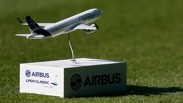 A general view of a tee marker on the 10th hole during round one of the Airbus LPGA Classic presented by JTBC