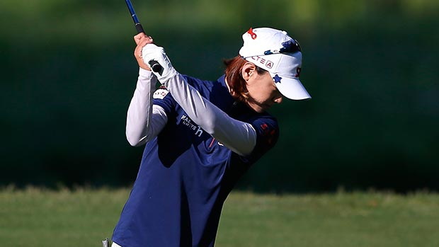 Na Yeon Choi of South Korea tees off the 10th hole during round one of the Airbus LPGA Classic presented by JTBC