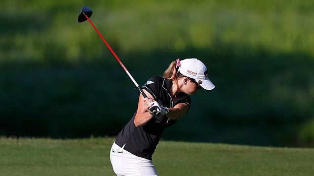 Paula Creamer tees off the 10th hole during round one of the Airbus LPGA Classic presented by JTBC