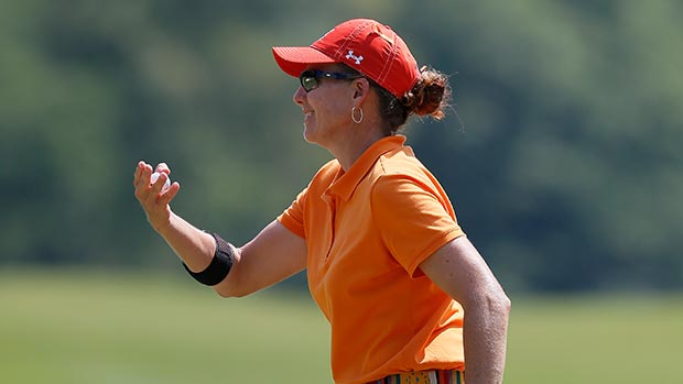Moira Dunn reacts after her putt on the 11th hole during round one of the Airbus LPGA Classic presented by JTBC