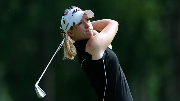 Jodi Ewart Shadoff of England tees off the 17th hole during round three of the Airbus LPGA Classic presented by JTBC