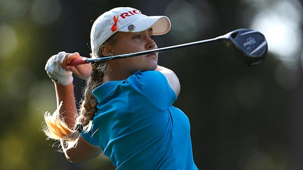 Charley Hull of England tees off the 10th hole during round two of the Airbus LPGA Classic presented by JTBC