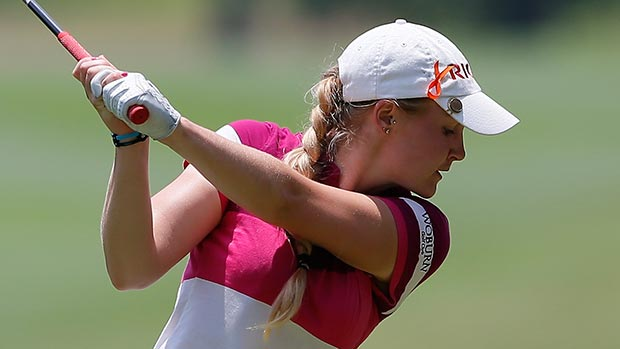 Charley Hull of England tees off the fifth hole during the final round of the Airbus LPGA Classic presented by JTBC