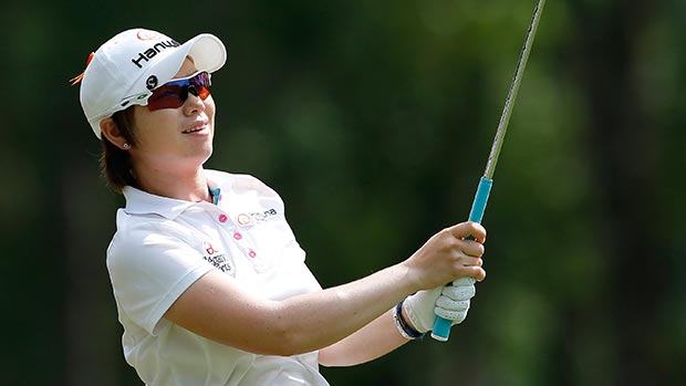 Eun-Hee Ji of South Korea tees off the 17th hole during round three of the Airbus LPGA Classic presented by JTBC
