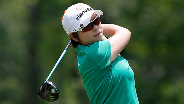Eun-Hee Ji of South Korea tees off the fourth hole during the final round of the Airbus LPGA Classic presented by JTBC