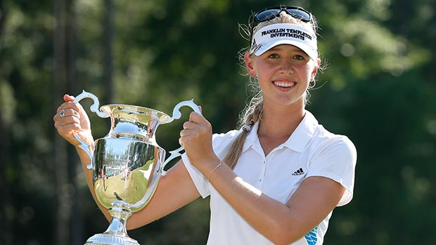 Jessica Korda poses with the trophy on the 18th green after winning the Airbus LPGA Classic presented by JTBC