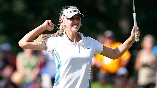 Jessica Korda reacts after sinking her birdie putt on the 18th green during the final round of the Airbus LPGA Classic presented by JTBC