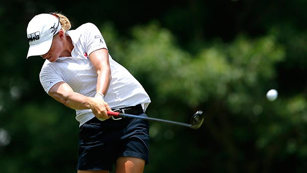 Stacy Lewis tees off the seventh hole during round three of the Airbus LPGA Classic presented by JTBC