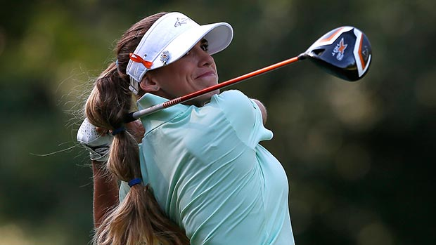 Belen Mozo of Spain tees off the 12th hole during round two of the Airbus LPGA Classic presented by JTBC