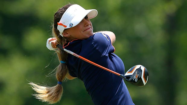 Belen Mozo of Spain tees off the fourth hole during the final round of the Airbus LPGA Classic presented by JTBC
