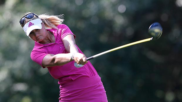 Anna Nordqvist of Sweden tees off the 12th hole during round two of the Airbus LPGA Classic presented by JTBC