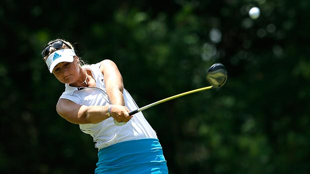 Anna Nordqvist of Sweden tees off the seventh hole during round three of the Airbus LPGA Classic presented by JTBC