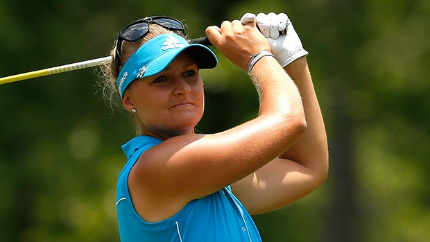 Anna Nordqvist of Sweden tees off the fourth hole during the final round of the Airbus LPGA Classic presented by JTBC