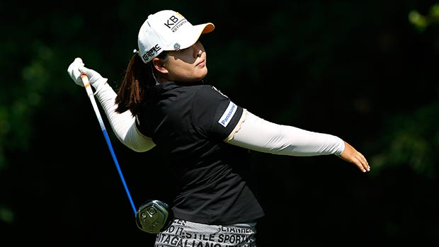 Inbee Park of South Korea loses her grip as she tees off the 16th hole during round two of the Airbus LPGA Classic presented by JTBC