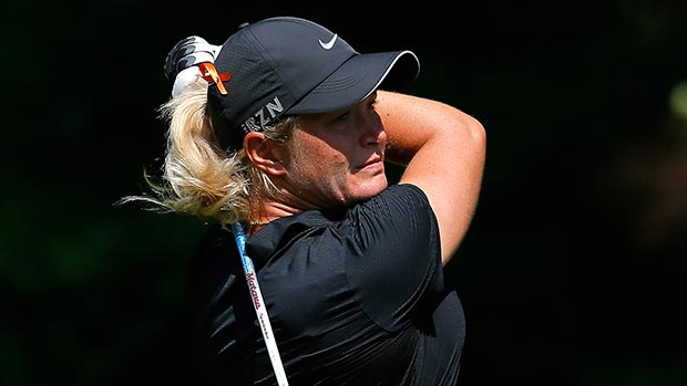 Suzann Pettersen of Norway tees off the 16th hole during round two of the Airbus LPGA Classic presented by JTBC