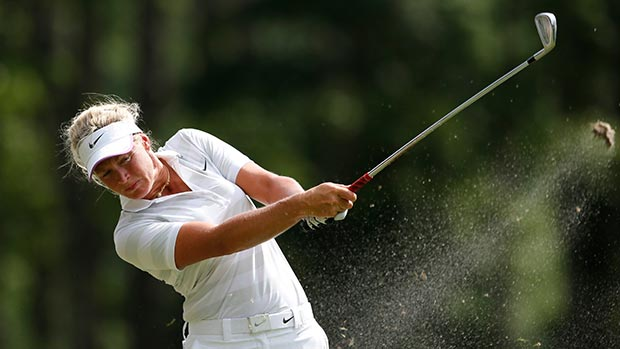 Suzann Pettersen of Norway tees off the 17th hole during round three of the Airbus LPGA Classic presented by JTBC
