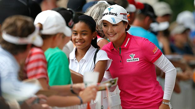 So Yeon Ryu of South Korea takes a picture with a fan after round three of the Airbus LPGA Classic presented by JTBC