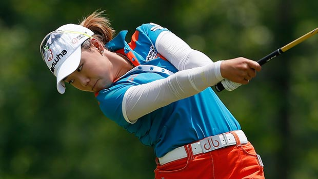 Jenny Shin tees off the fourth hole during the final round of the Airbus LPGA Classic presented by JTBC