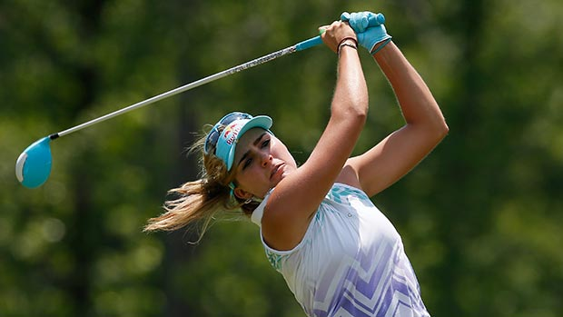 Lexi Thompson tees off the fourth hole during the final round of the Airbus LPGA Classic presented by JTBC
