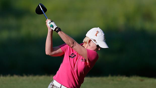 Karrie Webb of Australia tees off the 10th hole during round one of the Airbus LPGA Classic presented by JTBC