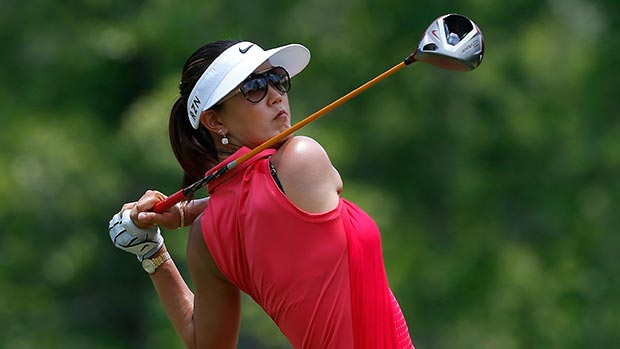 Michelle Wie tees off the fourth hole during the final round of the Airbus LPGA Classic presented by JTBC