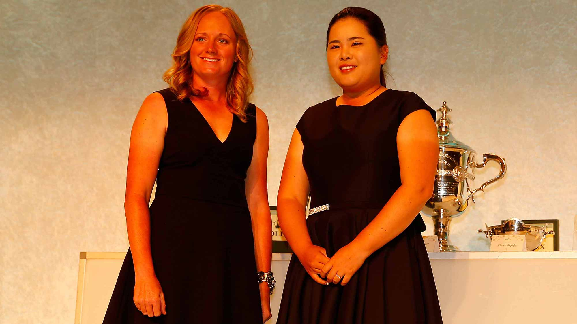 Stacy Lewis and Inbee Park during the Rolex Player Awards