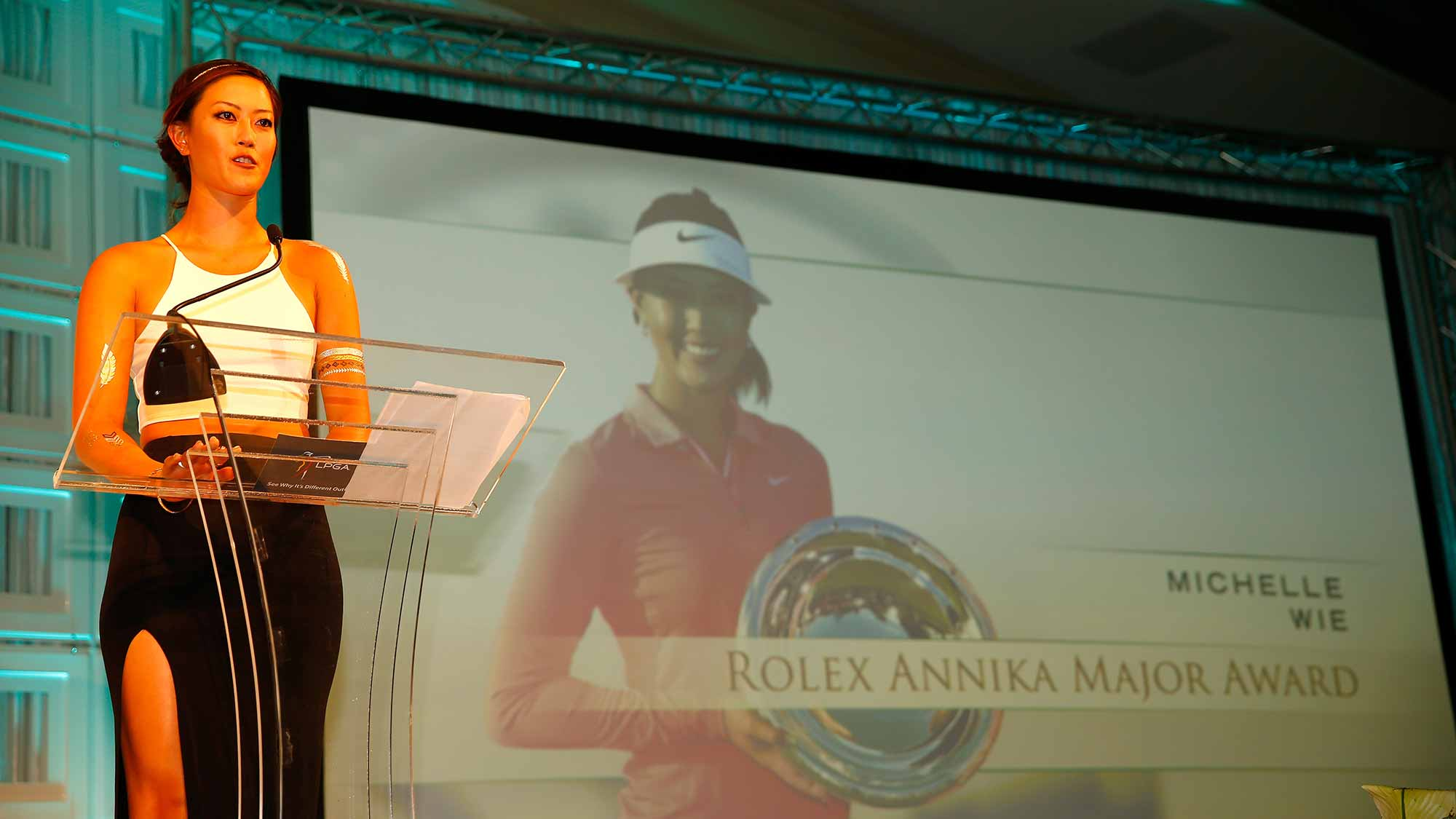 Michelle Wie during the Rolex Player Awards