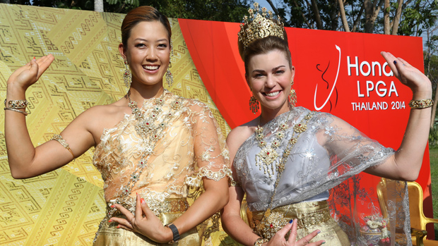 LPGA Players dress in traditional Thai dresses