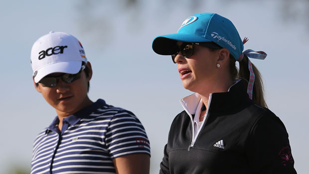 Paula Creamer and Yani Tseng during the first round of the 2014 JTBC Founders Cup