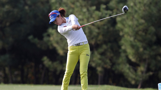 Haeji Kang during the third round of the LPGA KEB-HanaBank Championship