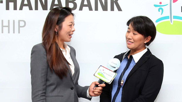 Mi Jung Hur and Amy Yang during the Gala Dinner at the LPGA KEB-HanaBank Championship
