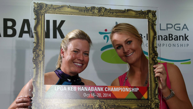 Brittany Lincicome and Anna Nordqvist during the Gala Dinner at the LPGA KEB-HanaBank Championship