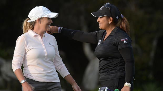 Cristie Kerr and Lizette Salas during the third round at the Kia Classic