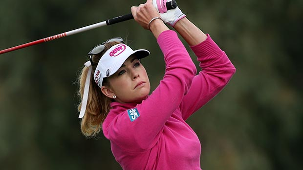 Paula Creamer hits her tee shot on the13th hole during the second round of the Kraft Nabisco Championship