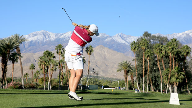 Charley Hull during the first round of the 2014 Kraft Nabisco Championship
