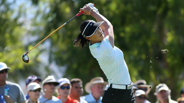 Michelle Wie during the final round of the 2014 Kraft Nabisco Championship
