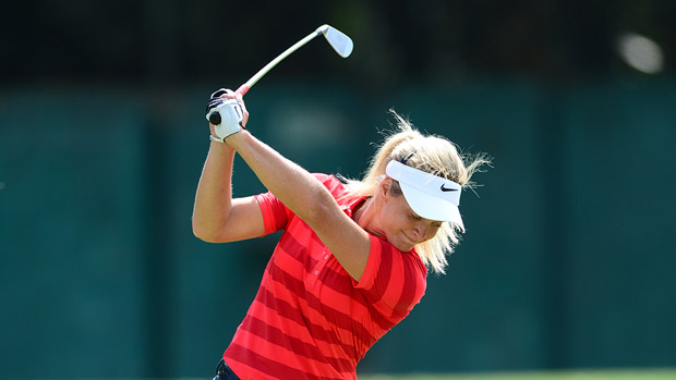 Suzann Pettersen prior to the start of the Lorena Ochoa Invitational presented by Banamex