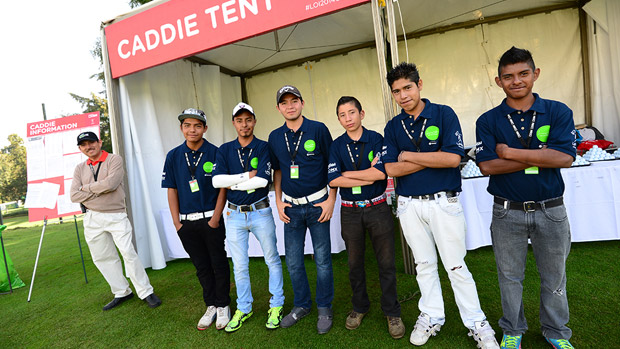 Caddies prior to the start of the Lorena Ochoa Invitational presented by Banamex