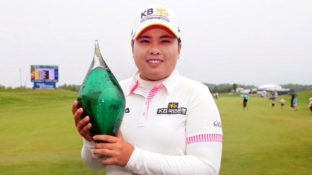 Inbee Park poses with the trophy at the Manulife Financial LPGA Classic