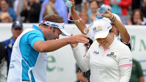 Inbee Park Celebrates after winning the Manulife Financial LPGA Classic