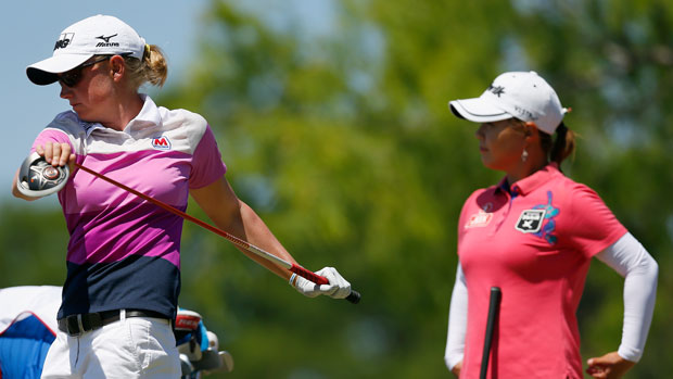 Stacy Lewis and Meena Lee during the final round of the 2014 North Texas LPGA Shootout Presented by JTBC